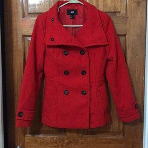 H&M Jackets & Coats - RED H&M PEA COAT